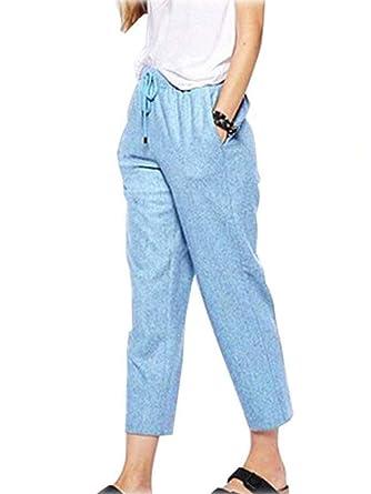 Été Décontractée Femme Lin Pants Sport Pantalon Shallgood Élastique Solide Coton Léger Pantacourt Cordon Couleur Ample T13FJuKcl