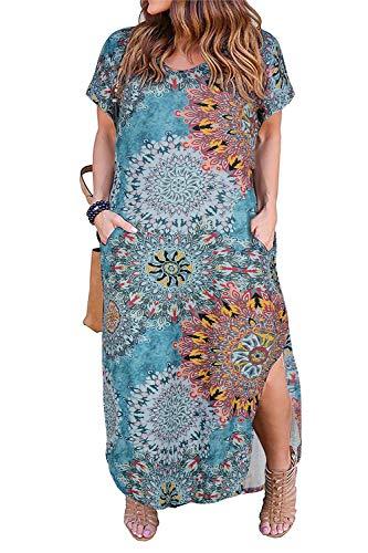 Nemidor Women's Casual Loose Pocket Long Dress Short Sleeve Plus Size Slit Maxi Dress (20W, Sun Flower)
