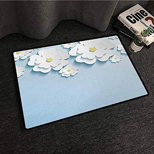 DILITECK Entrance Door mat Flowers Abstract 3D Style Effect Cherry Blossoms Modern Spring Sakura Pattern Hard and wear Resistant W20 xL31 Light Blue and White