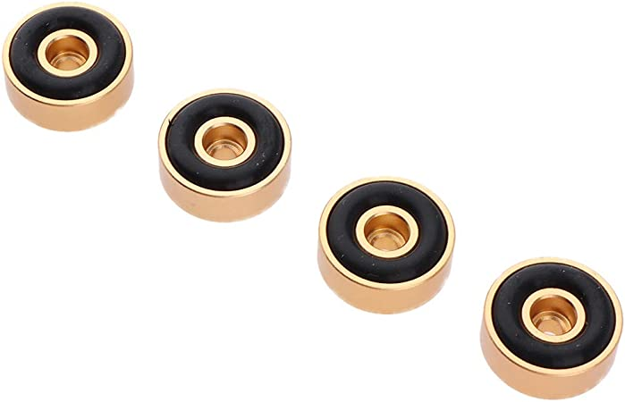 F Fityle 4X Aislamiento de Altavoz Pies Pad Base de Aluminio Almohadilla para Base de Pinchos de 20 x 8mm - Oro