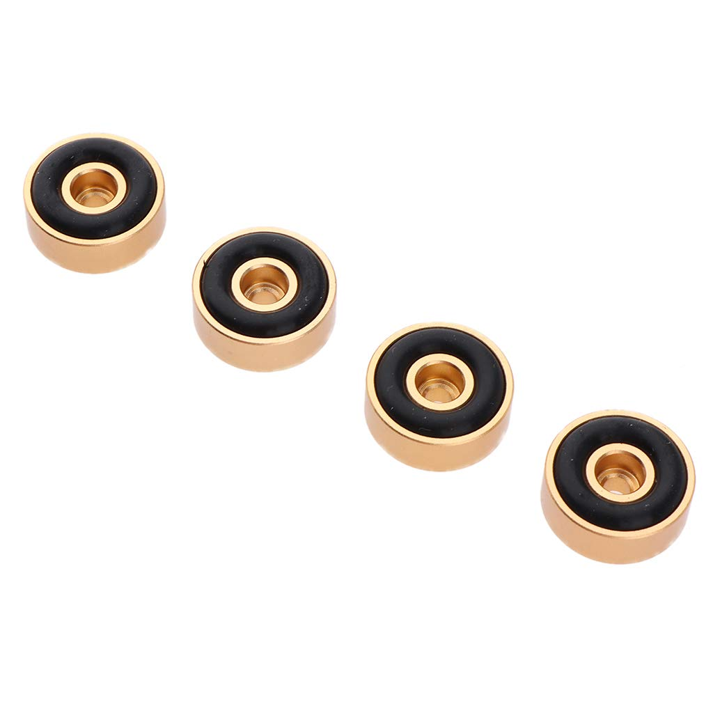 F Fityle 4X Aislamiento de Altavoz Pies Pad Base de Aluminio Almohadilla para Base de Pinchos de 50 x 15mm - Oro