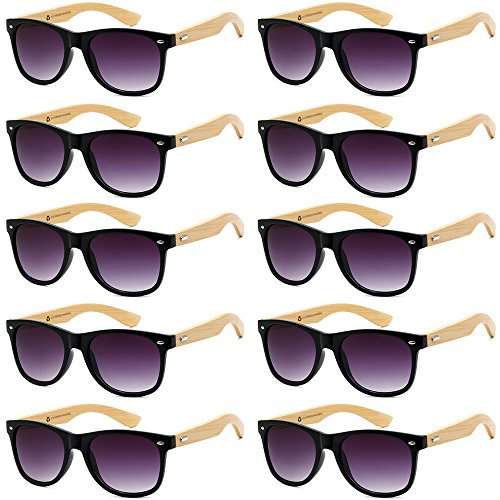 WHOLESALE BAMBOO ECO FRIENDLY MODERN RETRO 80'S CLASSIC SUNGLASSES - 10 PACK (Gloss Black | Gradient Smoke Lens, 52)