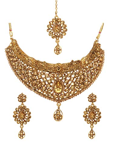 Bindhani Women's Indian Jewelry Simple Bridal Wedding Party Wear Crafted Brides Gold Plated Kundan Polki Choker Necklace Earrings Tikka Fashion Bollywood Style Jewellery Tika Set for Bridemaids