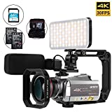 Camcorder 4k Video Camera, ORDRO Real 4K 30FPS Video Camera WiFi IR Night Vision 64X Digital Zoom 4K Ultra HD YouTube Vlogging Camera with Microphone, Wide Angle Lens, Camera Holder and Fill Light