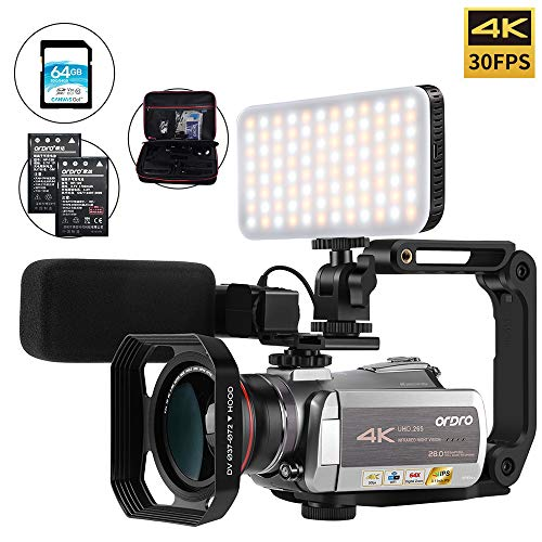 Camcorder 4k Video Camera, ORDRO 4K 30FPS Video Camera H.265 WiFi IR Night Vision 64X Digital Zoom 4K Ultra HD YouTube Vlogging Camera with Microphone, Wide Angle Lens, Camera Holder and Fill Light