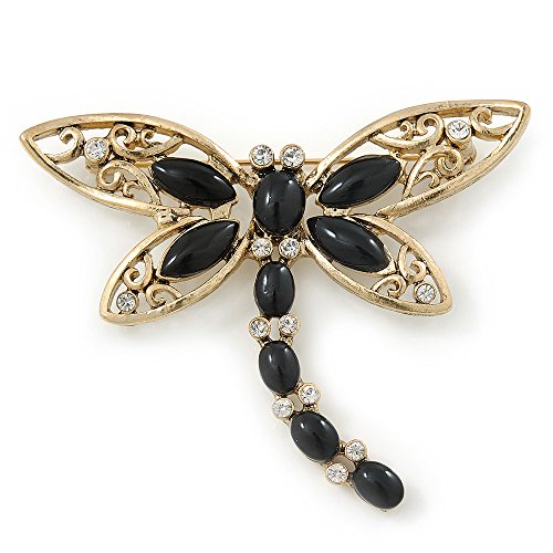 Gold Tone Filigree With Black Stone 'Dragonfly' Brooch - 70mm Width