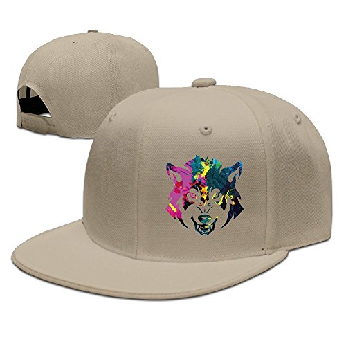 [Unisex Angry Wolf Colorful Head Snapback Flat Cap Peak Fit Hat Natural] (Wolf Head Hat)