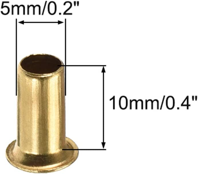 uxcell Hollow Rivet,5mm x 10mm Through Hole Copper Hollow Rivets Grommets Double-Sided Circuit Board PCB 200Pcs