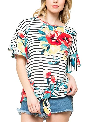 HOTAPEI Women's Floral Stripe Bow Tunic Ruffled Sleeve Knotted Hem T-Shirts Casual Top Blouses