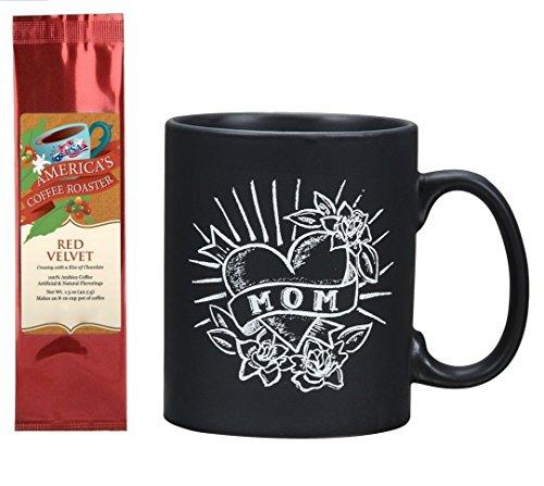 (Mom Chalk Tattoo Style Mug with Red Velvet Coffee Gift Set Bundle (2 Items))