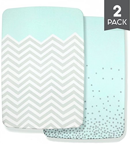 BEST PORTABLE CRIB SHEET SET for Baby Girls & Boys, 100% Organic Cotton, 2-Pack Fitted Pack-n-Play Mini Mattress Pad Convertible Crib Sheets, Soft Unisex Nursery Bedding for Infants & Toddlers