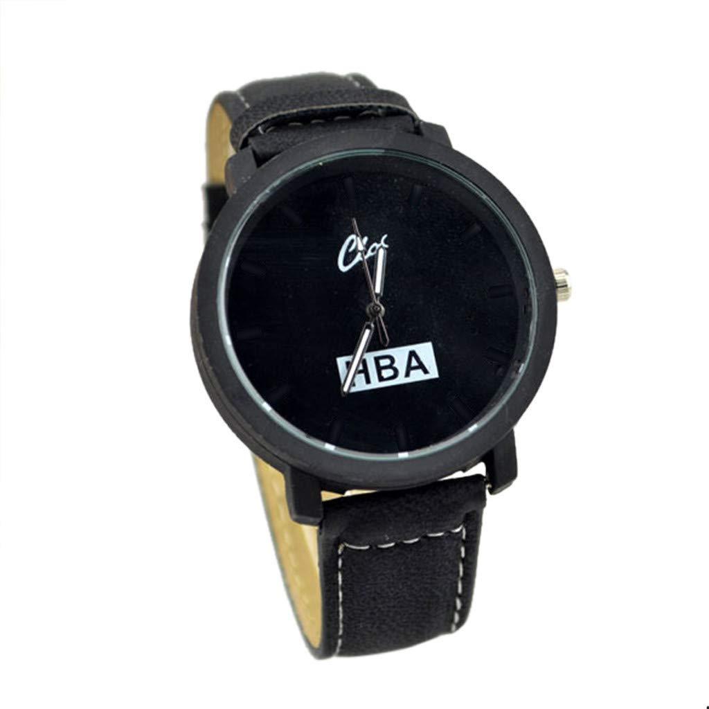 Mens Watches,Fxbar Fashion Youth Analog Wrist Watch Large Face Bracelet Watches Men Sport Watch(Black)