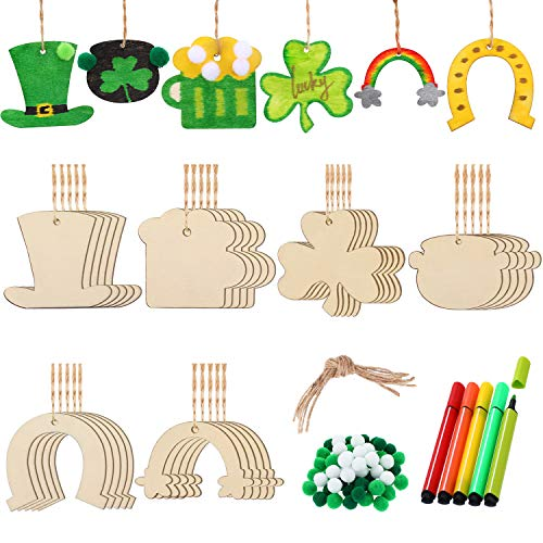 125 Pieces St. Patrick's Day Unfinished Wooden Ornaments Set 6 Assorted Patterns Wood Embellishments Hanging Ornaments with Pompoms and 5 Colors Pens for DIY Arts Crafts Decorations