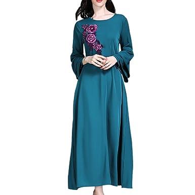 Hzjundasi Middle East Arabic Muslim Flower Embroidery Maxi Dress Trumpet  Sleeves Islamic Ethnic Kaftan Hindu Jewish 35cdd656c0d0