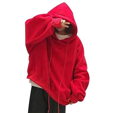 Amazon.com  XWDA Women Loose Lantern Sleeve Harajuku Hoodie College Wind  Plus Velvet Sweatshirt  Clothing e0a66d045233