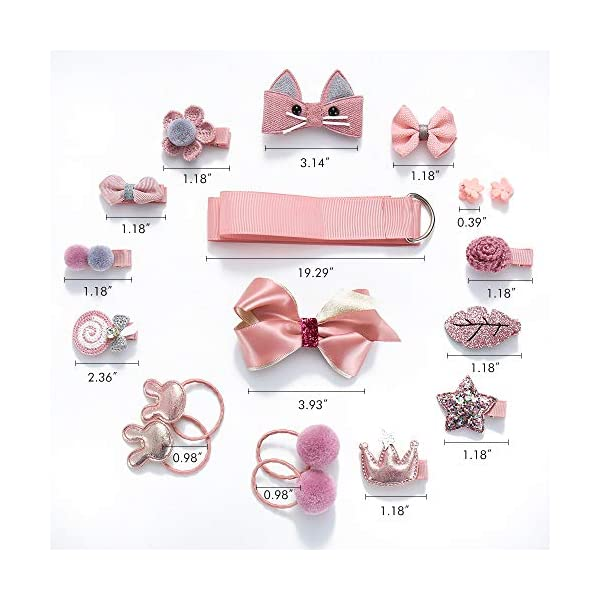 Baby Girls Hair Accesseries Set - 18 pcs Hair Tie Claw Clip Bows Barrettes Hairpins Set