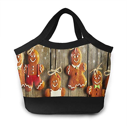 - JHNDKJS Christmas Homemade Gingerbread Couple Cookies Lunch Bag Insulated Lunch Box Cooler Bag for Women Men Adults Work