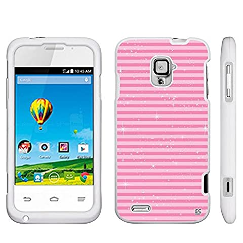 Protective Case For ZTE Rapido LTE Z932L Slim Two Piece Snap On Case Hard Plastic Rubberize Feel Durable Drop Proof White Shimmering Pink (Zte Rapido Phone Cases)