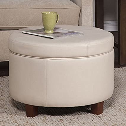 Excellent 24 X 17 Homepop Large Cream Ivory Faux Leather Round Wooden Framed Storage Ottoman Alphanode Cool Chair Designs And Ideas Alphanodeonline