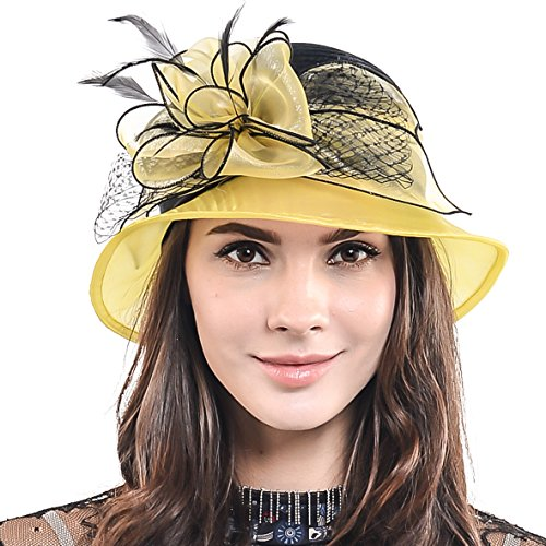 HISSHE Cloche Oaks Church Dress Bowler Derby Wedding Hat Party S015, Satin-yellow, Medium