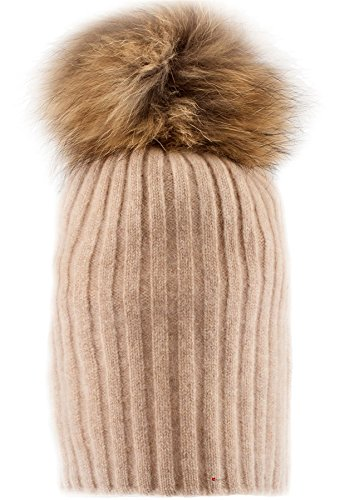 Luv I Style Rib Cashmere Luxurious Pom Vicuna with Pom Pom Hat Pom LTD Detachable px6xwnU