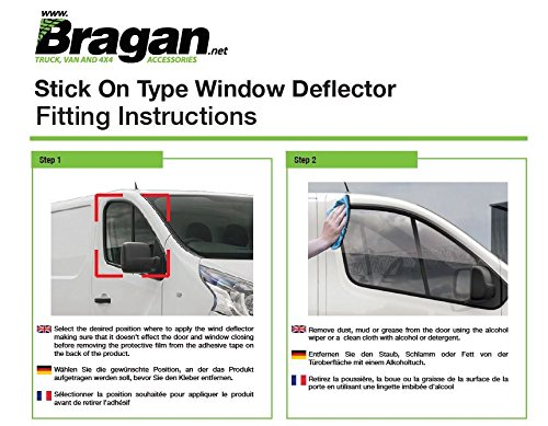 Fitting Kit Bragan BRAH3164 Truck Van SUV Window Deflectors Sun Rain Wind Sunshield Protector Smoked Tinted Acrylic