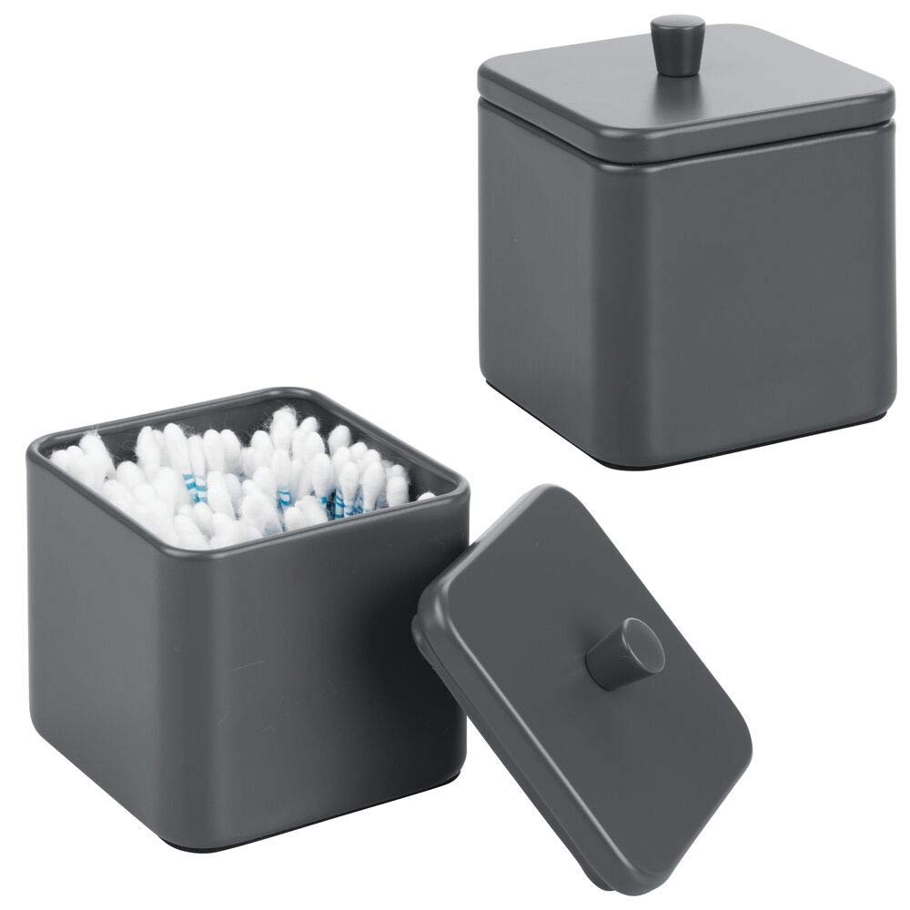 mDesign Metal Bathroom Vanity Countertop Storage Organizer Canister Apothecary Jar for Cotton Swabs, Rounds, Balls, Makeup Sponges, Blenders, Bath Salts - Square, 2 Pack - Matte Slate Gray