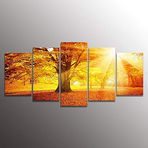 Formarkor Art Oil Painting Modern Art Large Canvas Wall Art 5 Piece Canvas Art Framed with Surrounded By Green Trees, the Recent Best-selling Products Kx0169