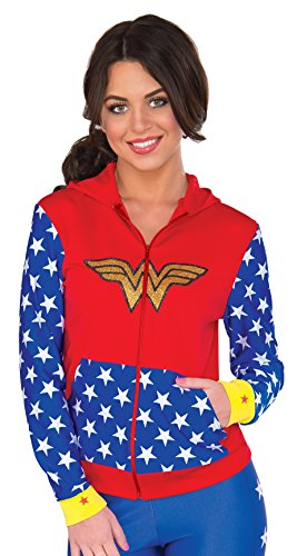 RUBIE'S COSTUME COMPANY Women's DC Comics Wonder Woman Fitted Hoodie  Small/Medium -