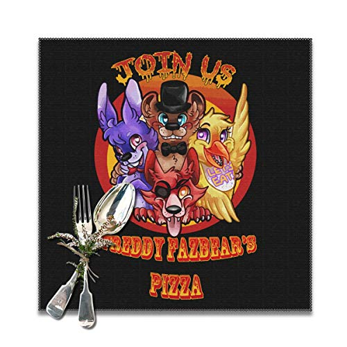Rmoye Five Nights At Freddy's Join Us Heat Resistant Placemats Set Of 6 For Dining Table Washable Kitchen Table Mats 12x12 Inches