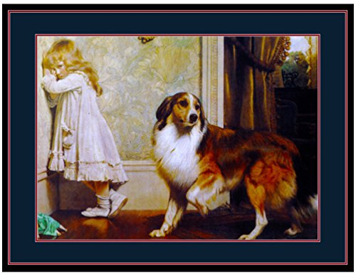 Picture Print Collie Puppy Dog and Little Girl in the Corner Art Poster (Collie Pictures compare prices)