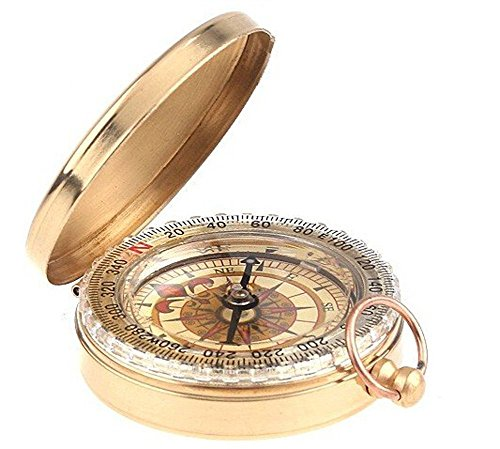 YZ Camping Survival Compass,Glow in the Dark, Portable Pocket Style Flip-Open Military Compass,Camping Survival Gear Compass Outdoor Tools(Golden) ()
