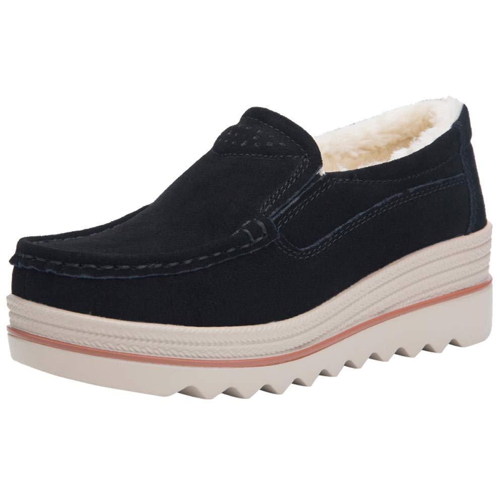 Kauneus  Women Comfortable Platform Shoes Wedges Work Suede Moccasins Tassel Slip On Loafers Black