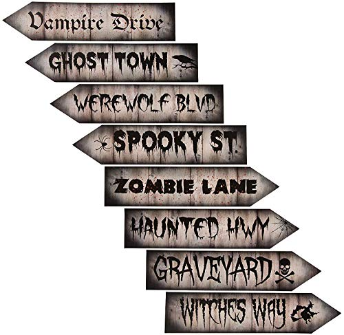 Halloween Party Supplies - 8-Piece Halloween Decorative Signs, Cutouts, Perfect for Zombie, Vampire, Werewolf Theme Party Decor, Photo Booth Props, 8 Assorted Designs, 17.5 x 4 Inches for $<!--$8.99-->
