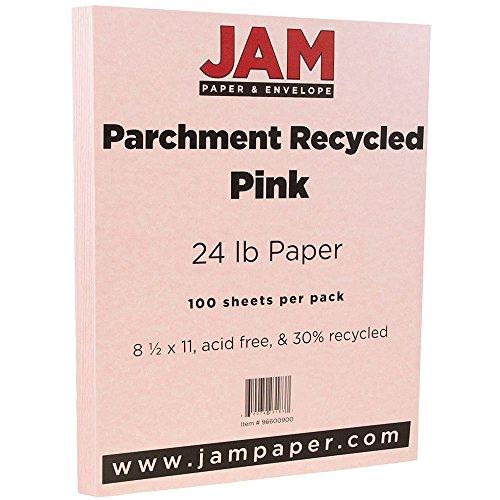 """JAM Paper Parchment Paper - 8.5"""" x 11"""" - 24 lb Pink Ice Recy"""