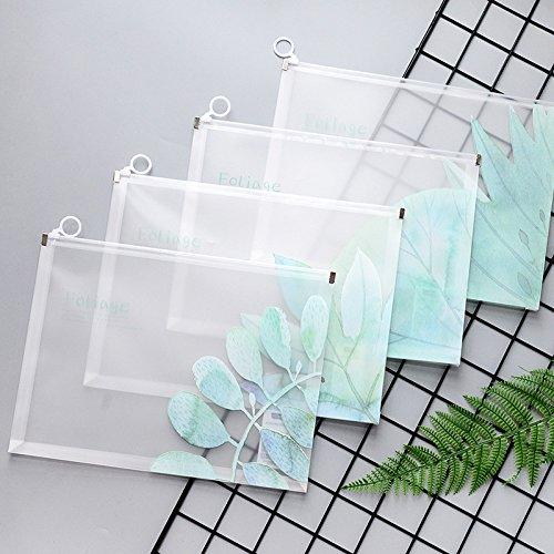 Zehaer Transparent Frosted Zipper PP Document Bags File Case Office Stationery Supplies (Random Color)