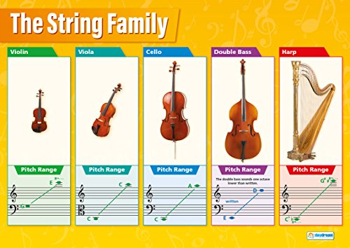 "Instrument Family Posters - String Instruments Family | Classroom Posters for Music | Gloss Paper measuring 33"" x 23.5"" 