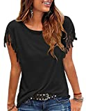 Kimiee Women's Casual Short Sleeve T Shirt Tassels Sleeves Blouse: more info