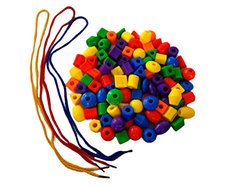 Discount Learning Supplies 100 Jumbo Assorted Plastic Beads with Three Lacing Strings and Free Storage Pouch by Discount Learning Supplies