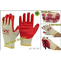 240 pairs Wholesale Heng Rui Premium Red latex Palm coated cotton Grip glove
