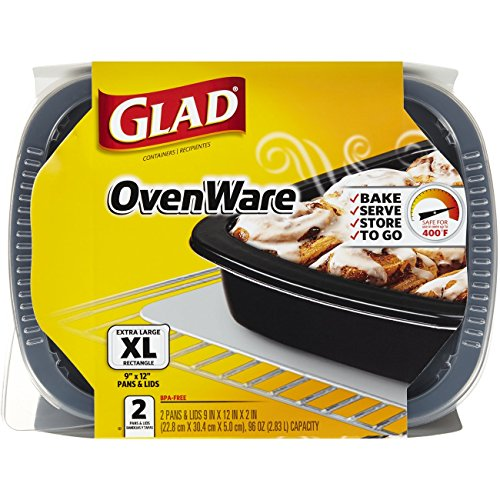 Glad Food Storage Containers, OvenWare, 96 Ounce, 2 Count (Pack of 6)