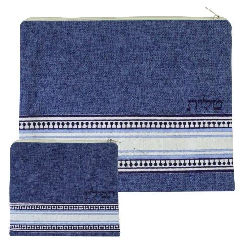 Linen Tallit and Tefillin Bag Set, Blue