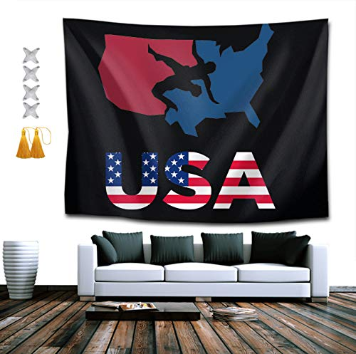 BOYOKO ME Wrestling USA Patriotic American Flag Wall Hanging, Psychedelic Wall Art, Dorm Decor Beach Throw, Indian Wall Tapestries Art 40 x 60 Inches
