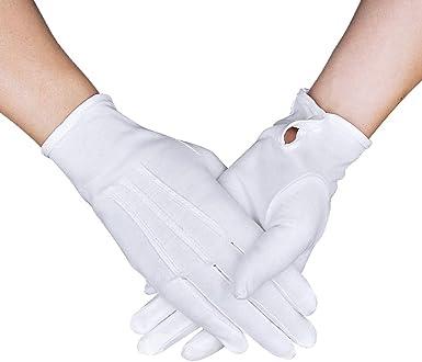 Guantes de algodón blanco para disfraz de esmoquin formal con puño ...