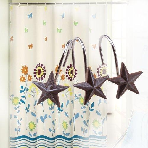 NEW AGPTEK 12 PCS decorative star rolling shower curtain hooks for home bathroom