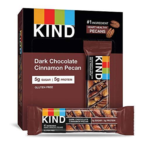 KIND Bars, Dark Chocolate Cinnamon Pecan, Gluten Free, Low Sugar, 1.4oz, 12...