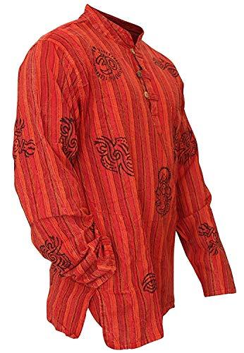 SHOPOHOLIC FASHION Mens Stonewashed Striped Grandad Shirt (L,New Maroon) -