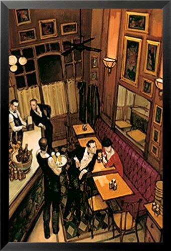- Buyartforless Framed Bistro by Juarez Machado 24x36 Art Print Poster Bar Scene Waiter Beer French Paris