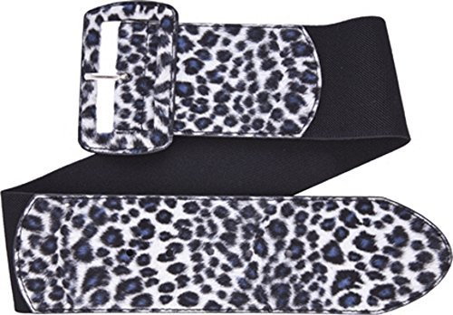 (Gray Leopard Print on Black Wide Stretch Belt from Sourpuss Clothing,Small)