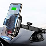 Baseus Wireless Car Charger Mount, 10w Automatic Infrared Qi Fast Charging Car Phone Holder Dashboard Compatible with iPhone Xs/Xs Max/XR/X, Galaxy Note 9/ S9/ S9+ & Other Qi Enabled 4.0-6.5in